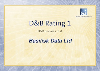 Basilisk Data's D&B Rating 1 Certificate